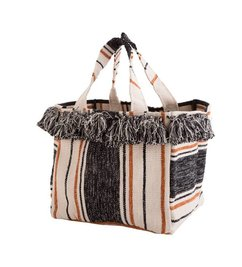 Madam Stoltz Striped basket with fringes