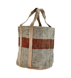 Madam Stoltz Jute basket grey/hazelnut