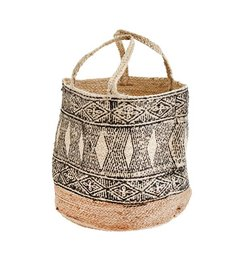 Madam Stoltz Blocked jute basket
