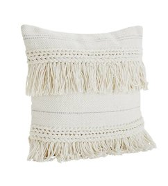 Madam Stoltz Cushion with tassels in off white/silver