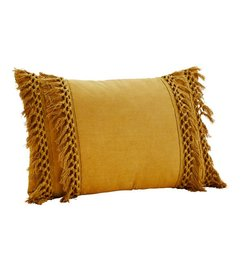 Madam Stoltz Cushion mustard with tassels