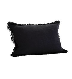 Madam Stoltz Stonewashed cushion xl black with fringes
