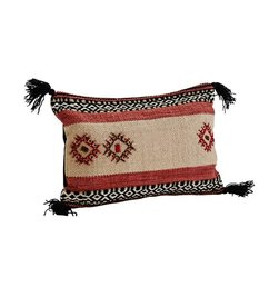 Madam Stoltz Cushion with embroidery and tassels