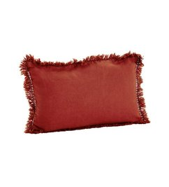 Madam Stoltz Stonewashed cushion orange with fringes