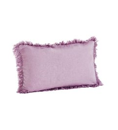 Madam Stoltz Stonewashed cushion cover lilac with fringes