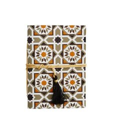 Madam Stoltz Notebook hazelnut-white-grey pattern