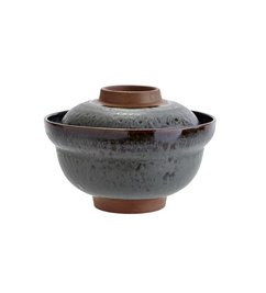 Madam Stoltz Stoneware bowl with lid - petrol