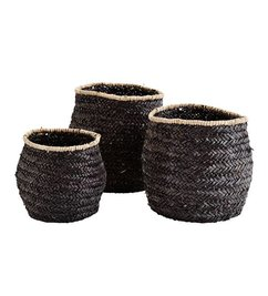 Madam Stoltz Seagrass baskets set of 3 - black