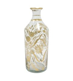 HK living  Glass vase painted with flowers brass