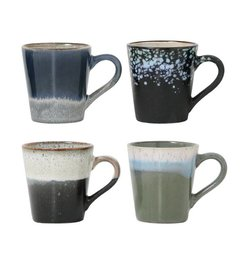 HK living  Ceramic espresso mugs 70's style - set of 4