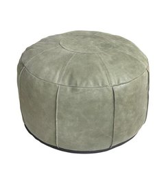 HK living  Leather pouf rustic - green