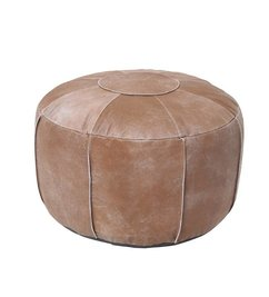 HK living  Leather pouf rustic - brown