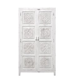 HK living  Cabinet with handcarved figures - white