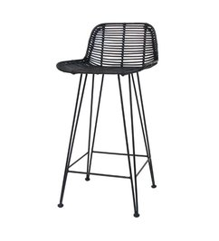 HK living  Bar stool rattan - black