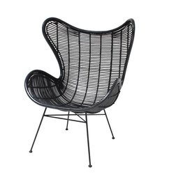 HK living  Egg chair rattan - black