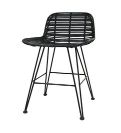 HK living  Dining chair rattan - black