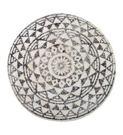 HK living  Bath mat round black and white pattern (dia 120)