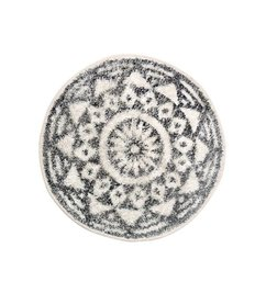 HK living  Bath mat round black and white pattern (dia 60)