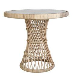 HK living  Sidetable rattan with glass table top