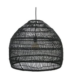 HK living  Hanglamp riet - zwart (dia 60)