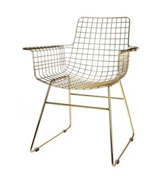 HK living  Wire chair with armrest - brass
