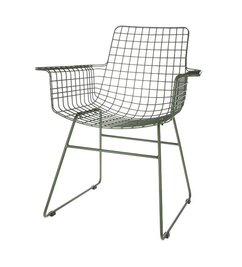HK living  Wire chair with armrest - army green