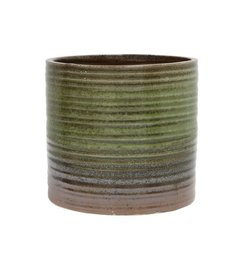HK living  Flowerpot striped relief brown - green