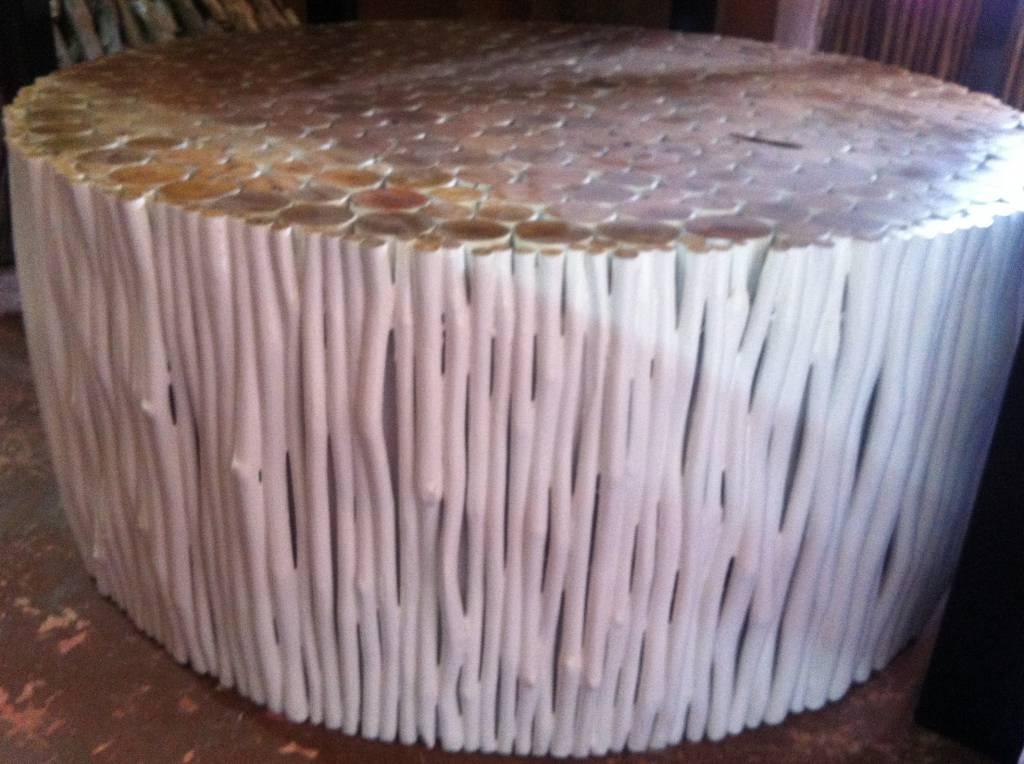 Wohnzimmertisch aus Holz Design RAMI (rund) Farbe: weiss / Verschiedene Abmessungen moeglich