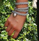 Leather wrap bracelet STAR, colour: dark grey