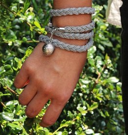 Leather wrap bracelet STAR, colour: dark grey