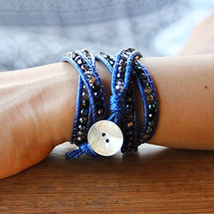 Wrap bracelet CRYSTAL MIX Colour: Dark Blue