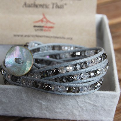 CRYSTAL MIX Wrap Bracelet, colour: grey