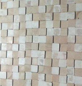 Houten wandpaneel Design QUADRINO PINE Kleur: White Mix / Verschillende afmetingen