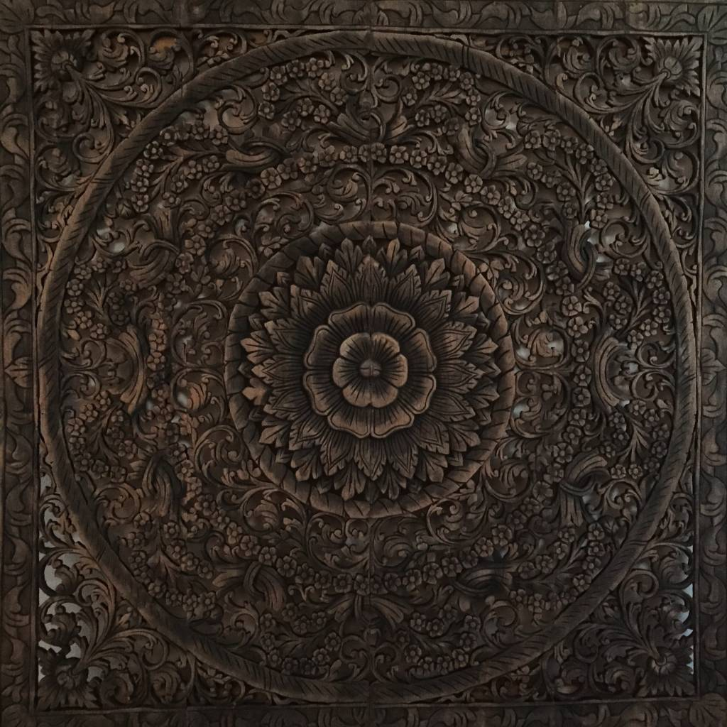 Hand carved wall panel Design LOTO antique black, different sizes available