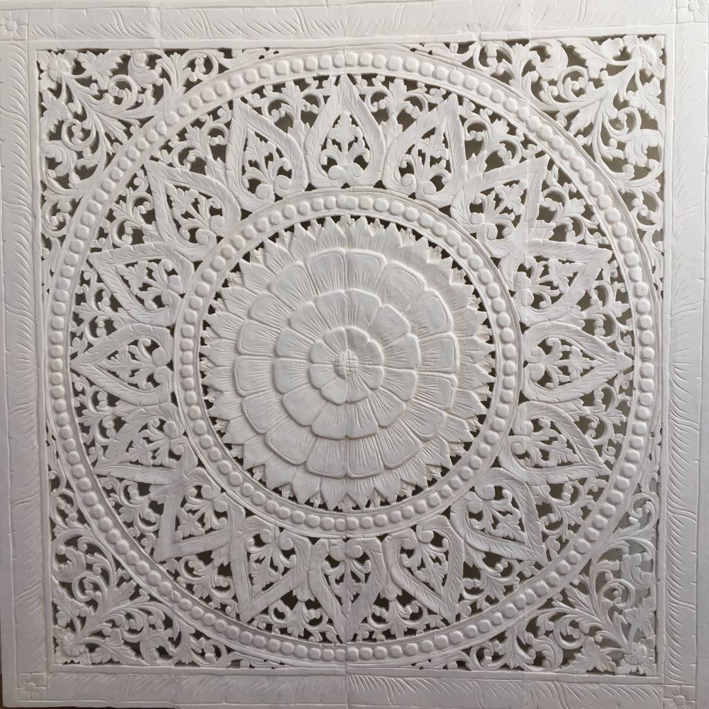 Hand carved wall panel Design SOLE white, several sizes