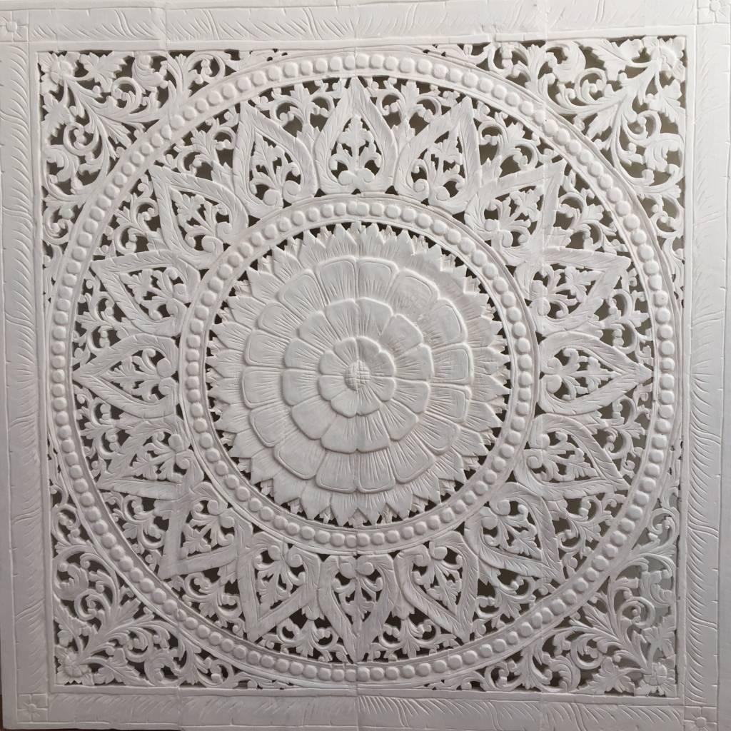 Handgeschnitztes Wandbild Design SOLE, Farbe: Weiss, verschiedene Abmessungen