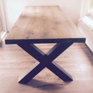 Houten eetkamertafel MIX & MATCH (rechthoek) met stalen poten en 8-10 cm blad, verschillende afmetingen & houtsoorten, coating in overleg