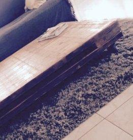 Houten salontafel van steenschotten (140 x100 cm)
