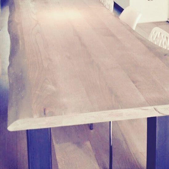 Boomstamtafel MIX & MATCH met stalen poten (verschillende afmetingen & houtsoorten), coating in overleg