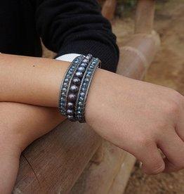 Armband ELEGANZA met blauw naturel paral