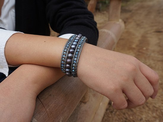 Armband ELEGANZA met blauw naturel parel | Simply Pure