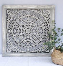 Handcarved wall decoration CIRCLE greywash