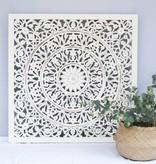 Houtsnijwerk wanddecoratie FLOWER wit
