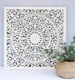Geschnitzte Wanddekoration FLOWER weiss