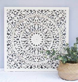 Handcarved wall decoration FLOWER antique white