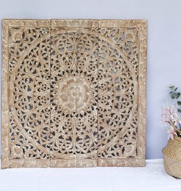 Hand carved wall panel Design SOLINO whitewash