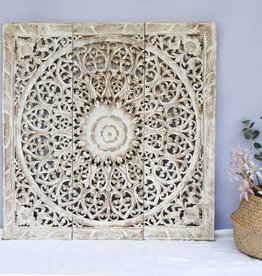 Hand carved wall panel Design SOLINO antique white