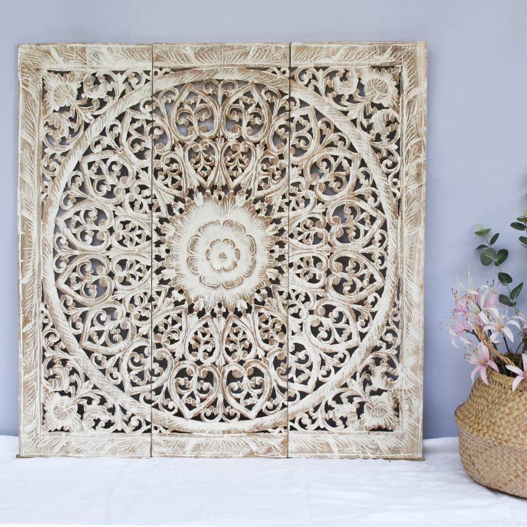 Hand carved wall panel Design SOLINO, antique white, several sizes