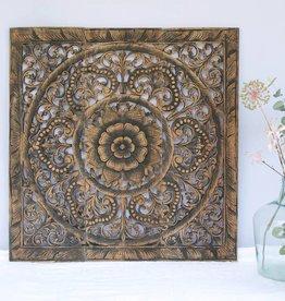 Handgeschnitztes Wandpaneel Design ORNAMENTO, Farbe: antikschwarz, verschiedene Abmessungen