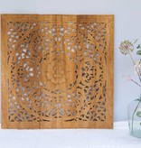 Hand carved wall panel Design ORNAMENTO, colour: natural teak, different sizes